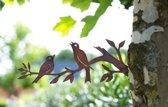 Schroef vogels 2 op takje  voor boom of schutting