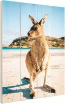 Een kangoeroe op het strand Hout 60x80 cm - Foto print op Hout (Wanddecoratie)