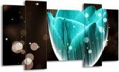 Canvas schilderij Tulp | Blauw, Zwart | 120x65 5Luik