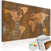 Afbeelding op kurk - Rusty World , wereldkaart, Bruin, 1luik