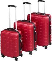 TecTake - kofferset Trolleyset 3-dlg hardshell wijnrood - 402670