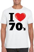 I love 70's t-shirt wit heren - seventies kleding 2XL