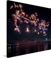 Kleurrijk vuurwerk boven Changsha in China Canvas 20x20 cm - klein - Foto print op Canvas schilderij (Wanddecoratie woonkamer / slaapkamer) / Aziatische steden Canvas Schilderijen