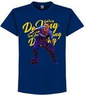 Frenkie De Jong Barcelona Script T-Shirt - Blauw - S