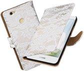 BestCases.nl Wit Lace booktype hoesje voor Huawei Nova