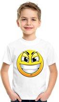 Smiley/ emoticon t-shirt ondeugend wit kinderen XL (158-164)