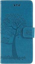 Shop4 - Sony Xperia XZ2 Hoesje - Wallet Case Boom Patroon Blauw
