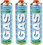 Gloria voordeelverpakking 3 maal gasflessen met schroefdraad aansluiting