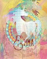 Emma: Colorful Rainbow Unicorn - 100 Pages 8''X10'' Girl's Composition Wide Ruled Notebook