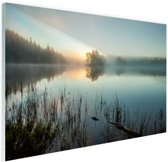 Zonsopkomst bij het meer Glas 120x80 cm - Foto print op Glas (Plexiglas wanddecoratie)