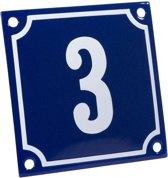 Emaille huisnummer blauw/wit nr. 3 10x10cm