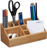 Pennenbakje bamboe, bureau organizer, pennen houder, hout bruin 10 vak