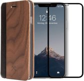 Woodcessories Ecoflip Bookcase + Screenprotector Bundel - Walnut Walnoot - iPhone XR hoesje van Echt Hout