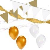 Wit/Gouden feest versiering pakket huiskamer