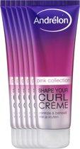 Andrélon Pink Collection Shape Your Curl - 6 x 125 ml - Haarcrème - Voordeelverpakking