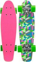 """Nijdam Skateboard 22.5"""" Hout - Free Flip Board - Fuchsia/Fluorgroen/Grijs"""