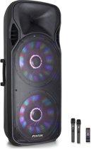"""Fenton FT215LED mobiele speaker met dubbele 15"""" woofer, draadloze microfoon en LED lichteffecten"""