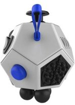 Fidget Cube 2.0 PRO met 12 speelkanten , nieuw model Stress Verminderende Speel Kubus | Vinger Friemel Kubus | Stress Bal | Rage van 2017 | Kleur Wit met Blauw