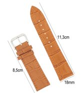 Horlogeband Leer 18mm - Croco Band + Push Pin - Licht Bruin - Sarzor