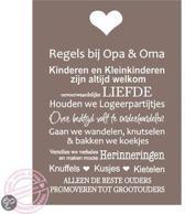 Tekstbord Regels Opa en Oma 30 x 40 cm taupe wit A195