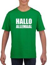 Hallo allemaal tekst groen t-shirt voor kinderen M (134-140)