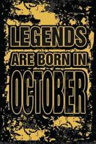 Legends Are Born In October: Personalized Gifts of Birthday Born In October Notebook Journals To Writing Blank Journal Unicorn Design For Birthday