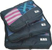 Packing Cubes Set - Kleding Organizer voor Koffer en Backpack - Travel Opbergzakken - Koffer Organizer - 3Stuks - Zwart