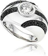 Orphelia Silver 925 Zr-3678/56 Ring Solitaire Black Line Zirconium