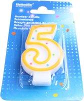 Amscan Verjaardagskaarsje Cijfer 5 Geel