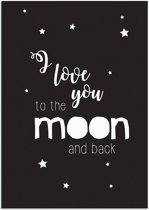 Kinderkamer Poster I love you to the moon and back DesignClaud - Zwart Wit - A4 poster