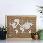 Milimetrado - Wereldkaart Prikbord - Kurk met Houten Frame - Naturel/Wit - 40x30 cm