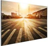 Stedelijke weg bij zonsondergang Aluminium 60x40 cm - Foto print op Aluminium (metaal wanddecoratie)