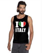 Zwart I love Italie supporter singlet shirt/ tanktop heren - Italiaans shirt heren XL