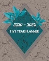 2020-2024 5 Year Planner: Turquoise Diamond Marble Design: Monthly Yearly Schedule Organizer (60 Months): Agenda Calendar For The Next 5 Years