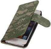 Lace Donker Groen iPhone 5 5s Book/Wallet Case/Cover Hoesje