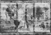 Fotobehang Paris City Map Vintage | L - 152.5cm x 104cm | 130g/m2 Vlies
