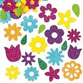 Foam stickers met glitter bloemen - scrapbooking verfraaiing om te maken en versieren lente kaarten decoraties en knutselwerkjes (120 stuks)
