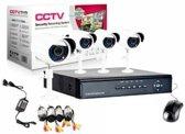 CCTV DVR Kit Beveiligingscamera Plug en Play camerasysteem  - 4 camera's WIT