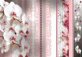 Fotobehang Flowers Floral Orchids Pattern | M - 104cm x 70.5cm | 130g/m2 Vlies