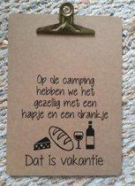 Cadeau set van 2 klemborden a4 met tekst regel tekstbord camping voor papa opa vaderdag mama oma moederdag verjaardag vrouw man Kamperen Fans