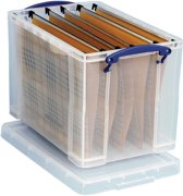 3x Really Useful Box 19 liter hangmappenkoffer inclusief 10 hangmappen, transparant