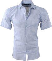 Pradz - Heren Korte Mouw Overhemd - Slim Fit - Licht Grijs