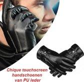 2-Pack Chique touchscreen handschoenen van PU leder | 1 stuk XL valt als M/L en 1 stuk XXL valt als L/XL | Zwart