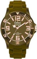 Colori Classic Chic 5 COL136 Horloge - Siliconen Band - Ø 40 mm - Legergroen