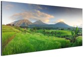 Rijstvelden en vulkanen Bali Aluminium 120x80 cm - Foto print op Aluminium (metaal wanddecoratie)