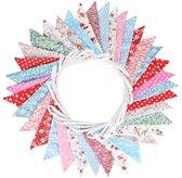 Zoete tweezijdig wimpel slinger, 10 m vlaggendoek wimpelketting met 36 Stk kleurrijk wimpeln voor bruiloft verjaardag Party