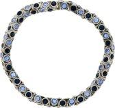 Elastische armband met donker en licht blauwe steentjes