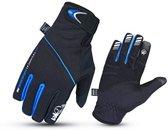 JET - Winter Fietsen Handschoenen Outdoor winddicht Padded Palm Low Bulk Light Weight Wind Slam (zwart / blauw, XS)