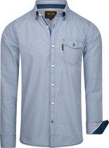 PME Legend - Heren Overhemden Check Declan Forever Blue Shirt - Blauw - Maat XXL