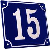 Emaille huisnummer blauw/wit groot nr. 15 18x15cm